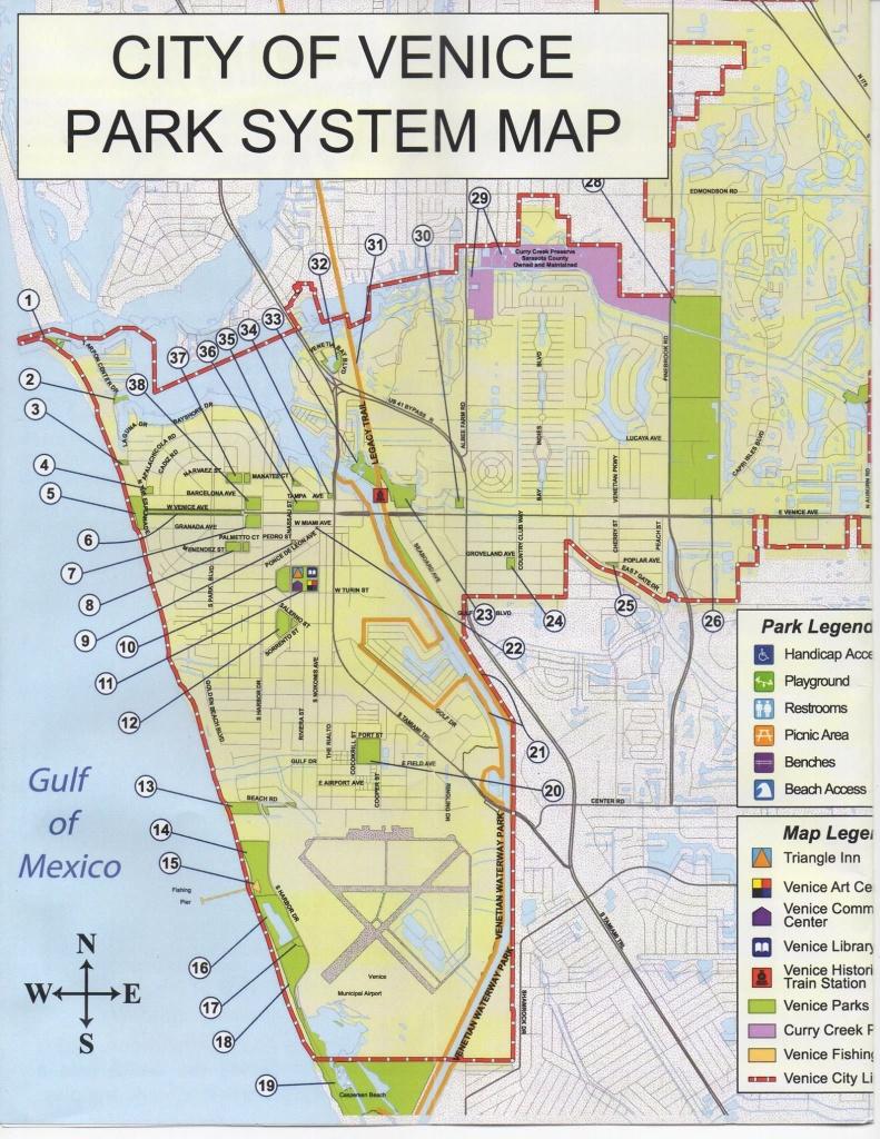 Map Of Public Parks & Trails In Venice, Florida.   Favorite Places - Sarasota Florida Map Of Florida