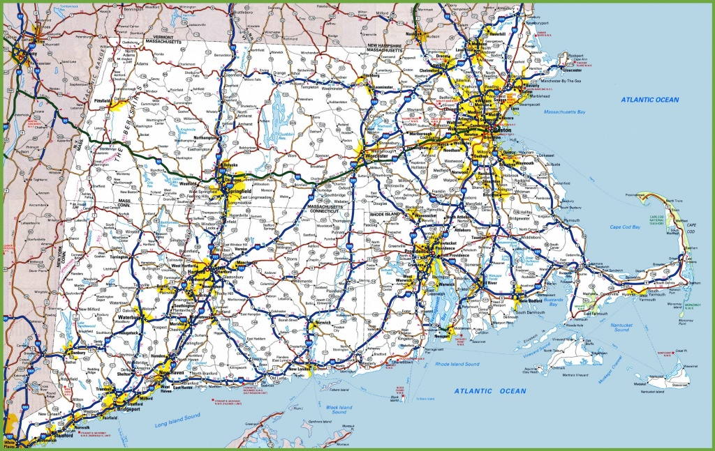 Map Of Rhode Island, Massachusetts And Connecticut - Printable Map Of Rhode Island