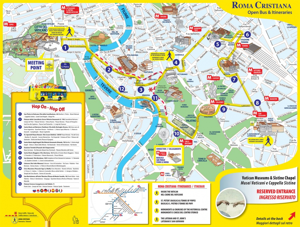 Map Of Rome Tourist Attractions, Sightseeing & Tourist Tour - Central Rome Map Printable