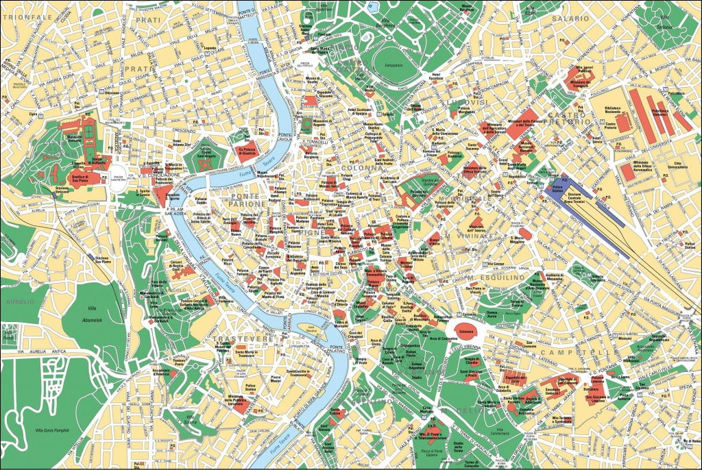 Map Of Rome Tourist Attractions, Sightseeing & Tourist Tour - Rome Sightseeing Map Printable