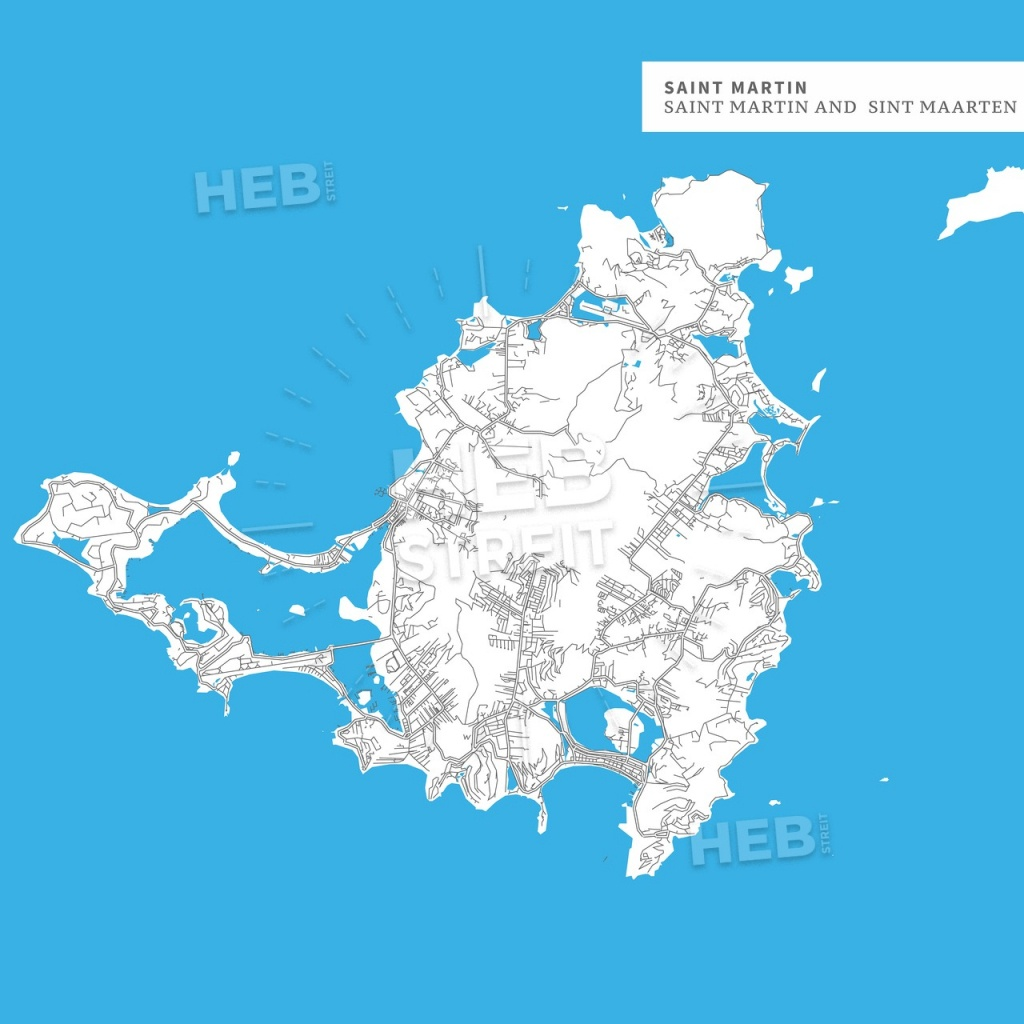 Map Of Saint Martin Island | Hebstreits Sketches - Printable Road Map Of St Maarten