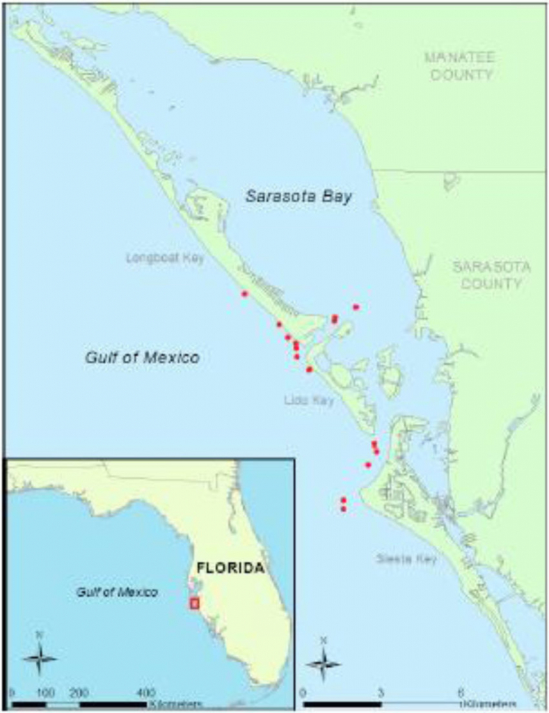 Map Of Sampling Area Off Sarasota, Fl Showing Locations Of A - Sarasota Bradenton Florida Map