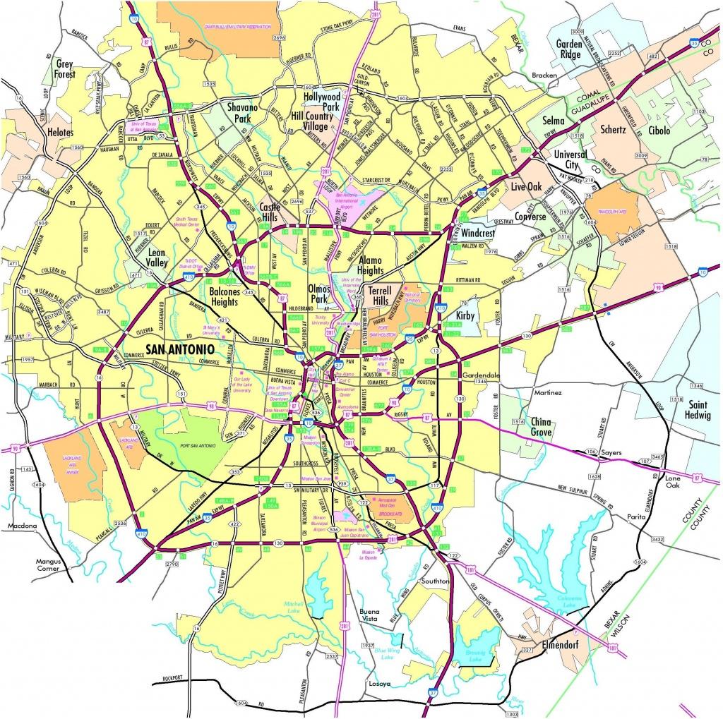 Map Of San Antonio Texas And Surrounding Area - San Antonio Tx Map - Detailed Map Of San Antonio Texas