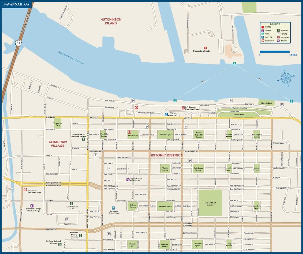 Map Of Savannah Airport Historic District Squares Area River Site Free - Printable Map Of Savannah Ga Historic District