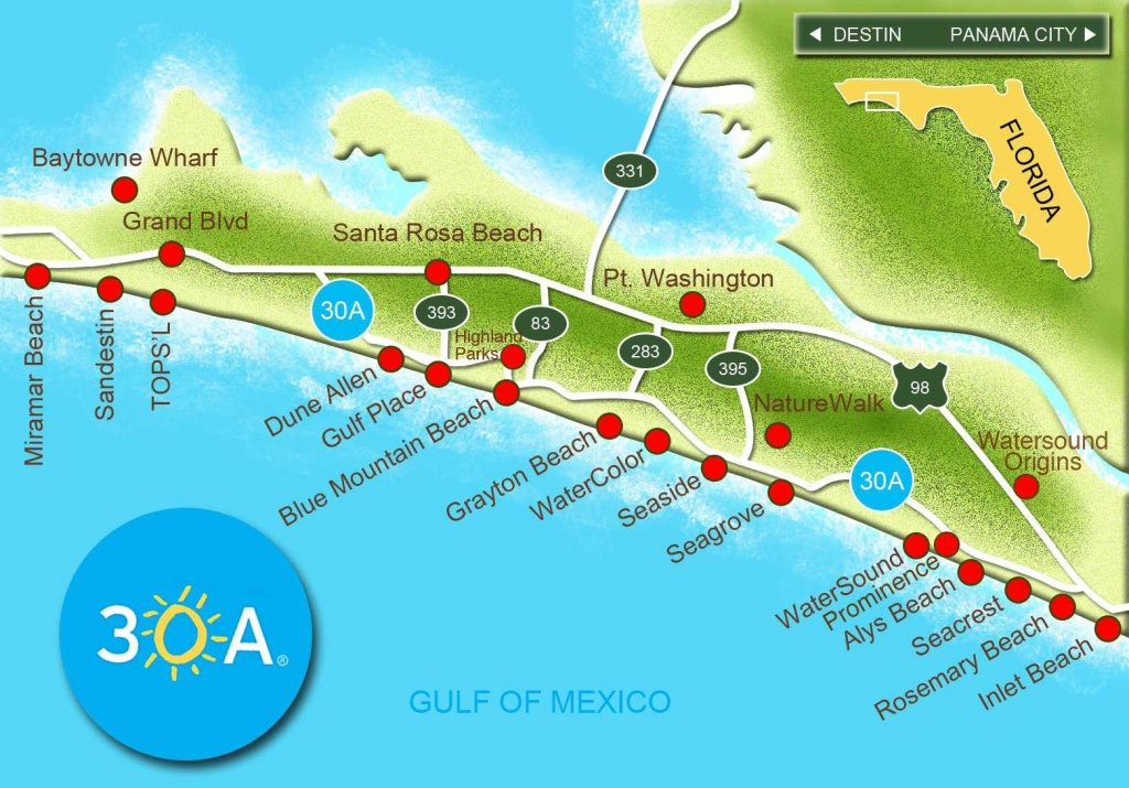 Map Of Scenic 30A And South Walton, Florida - 30A Panhandle Coast - Blue Mountain Beach Florida Map