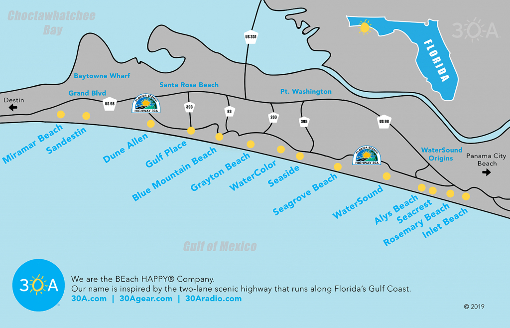 Map Of Scenic 30A And South Walton, Florida - 30A - Seaside Beach Florida Map