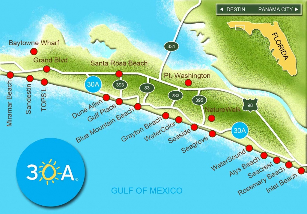 Map Of Scenic Highway 30A/south Walton, Fl Beaches | Florida: The - Destin Florida Map Of Beaches