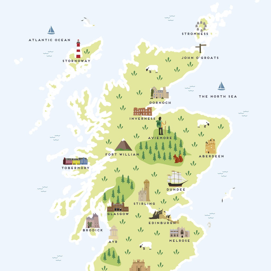 Map Of Scotland Printpepper Pot Studios | Notonthehighstreet - Printable Map Of Scotland