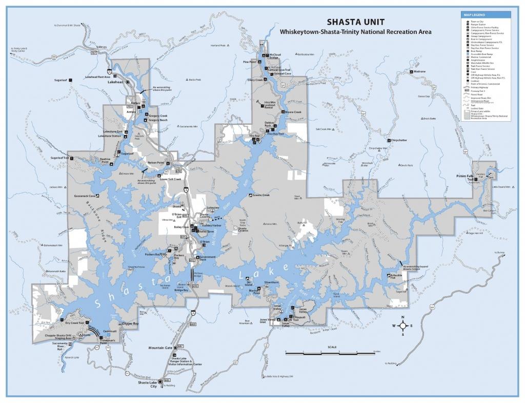 Map Of Shasta Lake, Dam And Rivers | Lake Shasta California Map - Mount Shasta California Map