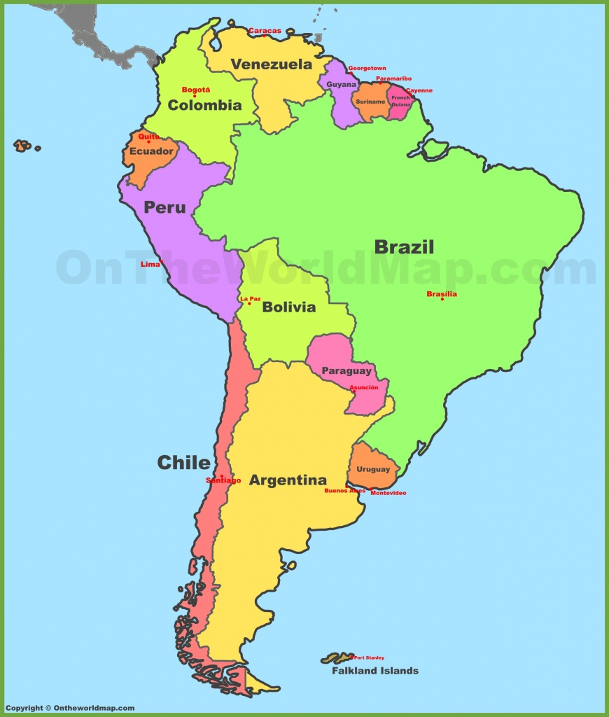 Map Of South America With Countries And Capitals - Printable Map Of South America With Countries
