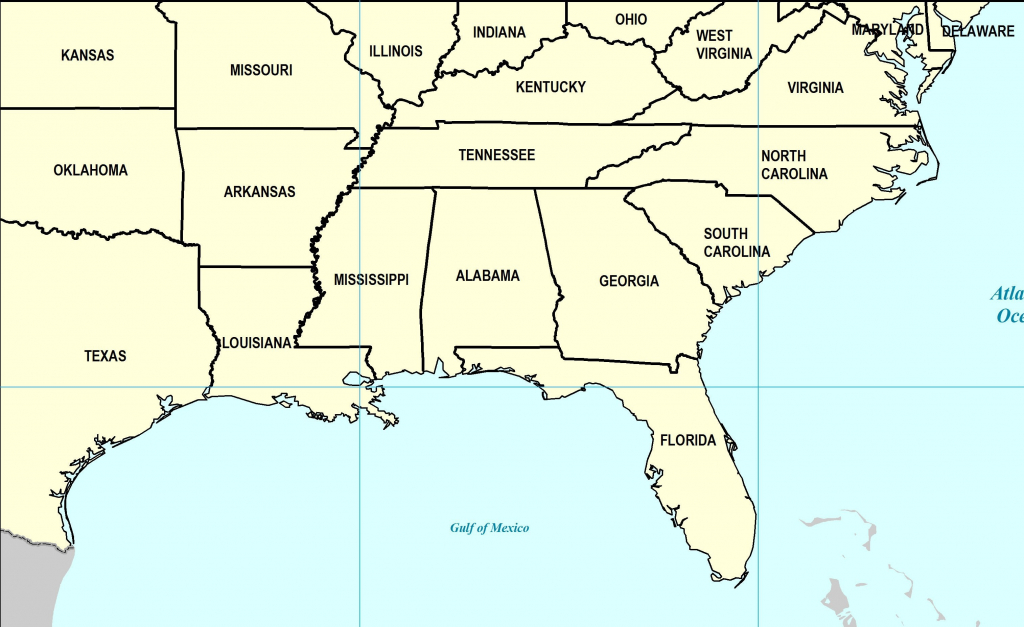 Map Of Southeast Us States | Sitedesignco - Printable Map Of Southeast Us