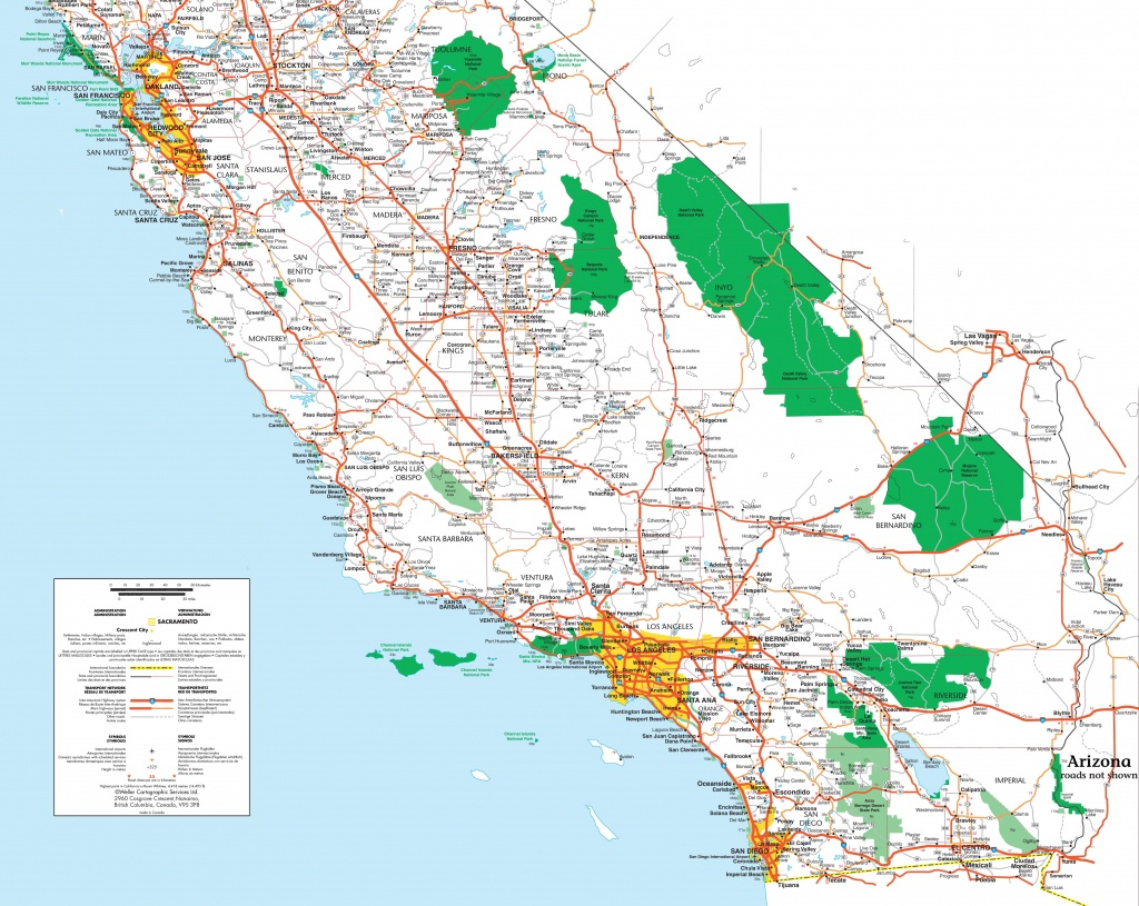 Map Of Southern California - Southern California National Parks Map