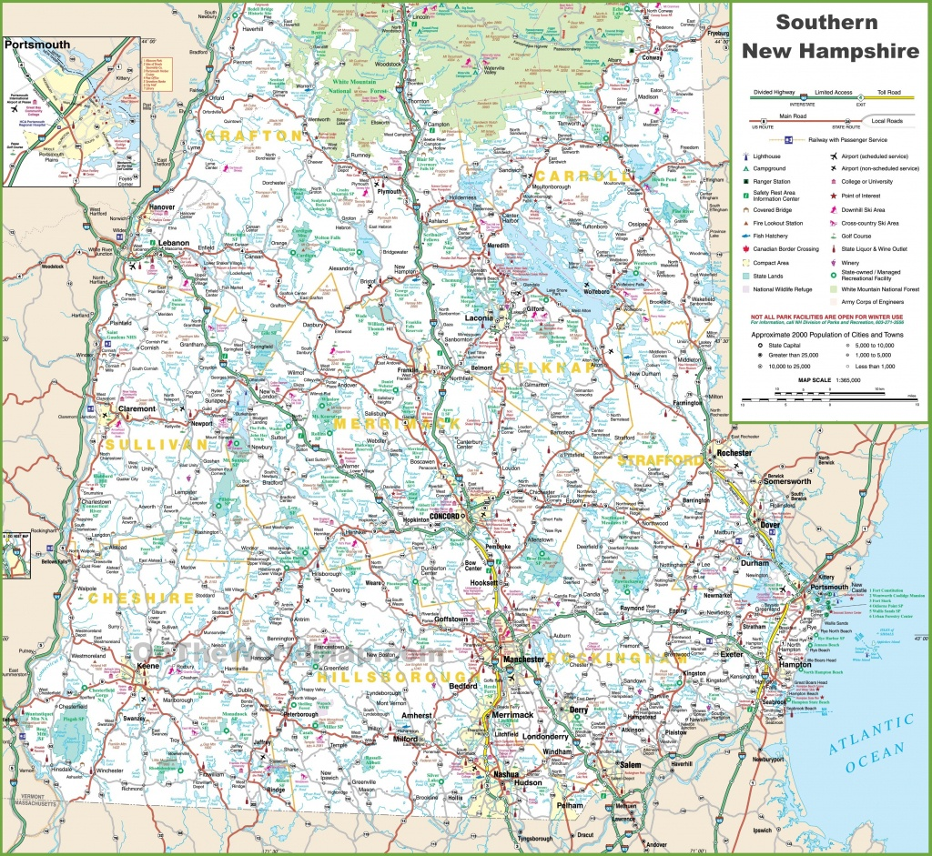 Map Of Southern New Hampshire - Printable Map Of New Hampshire