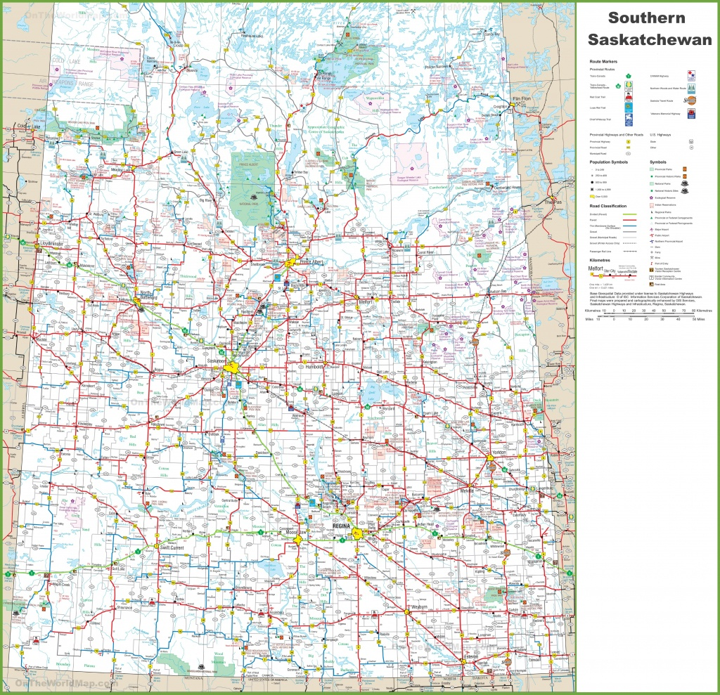 Map Of Southern Saskatchewan - Printable Map Of Saskatchewan