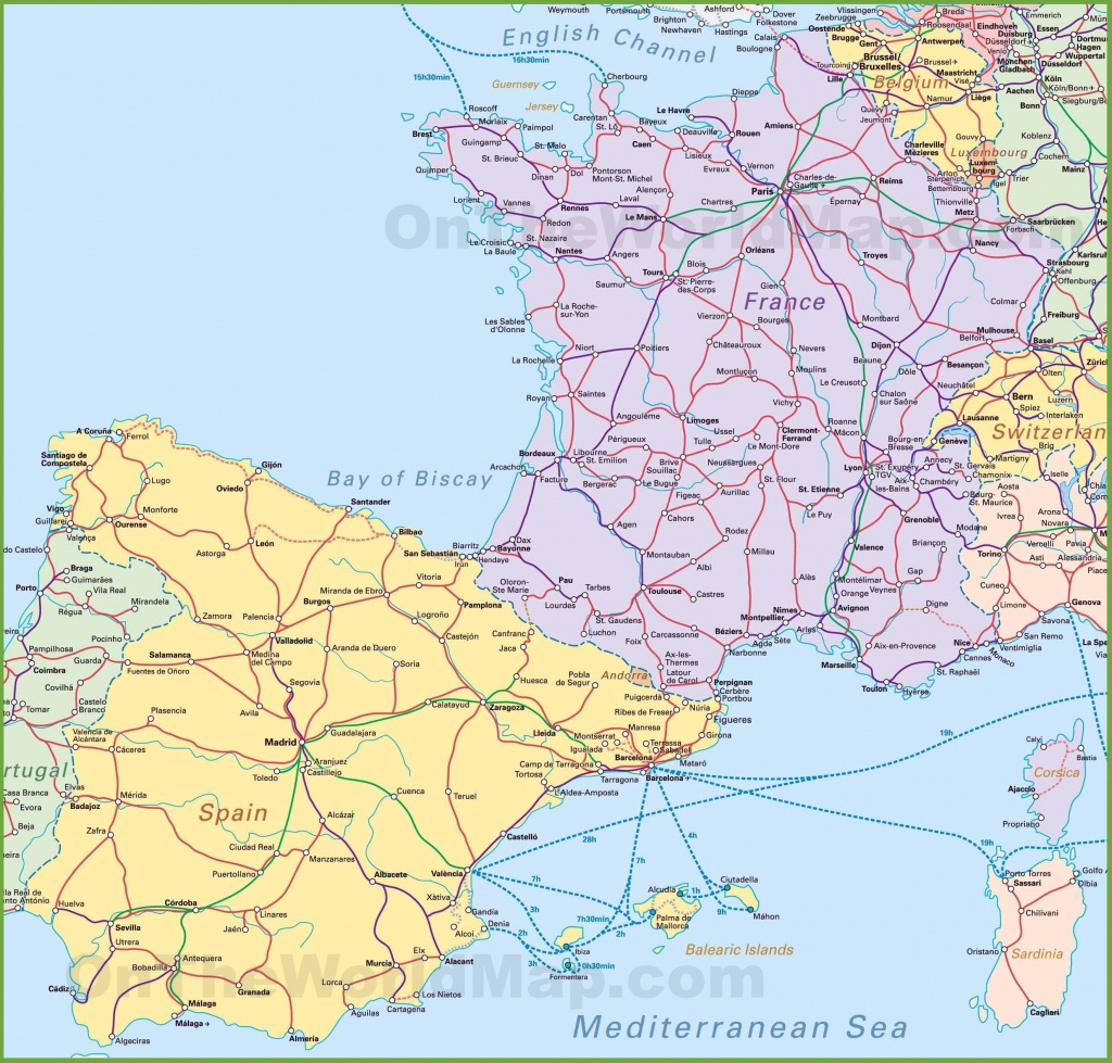 Map Of Spain And France - Printable Map Of Spain Pdf