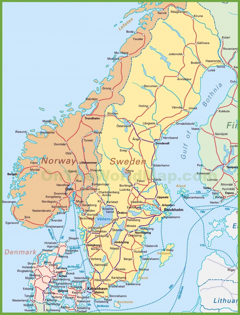 Map Of Sweden, Norway And Denmark - Printable Map Of Sweden