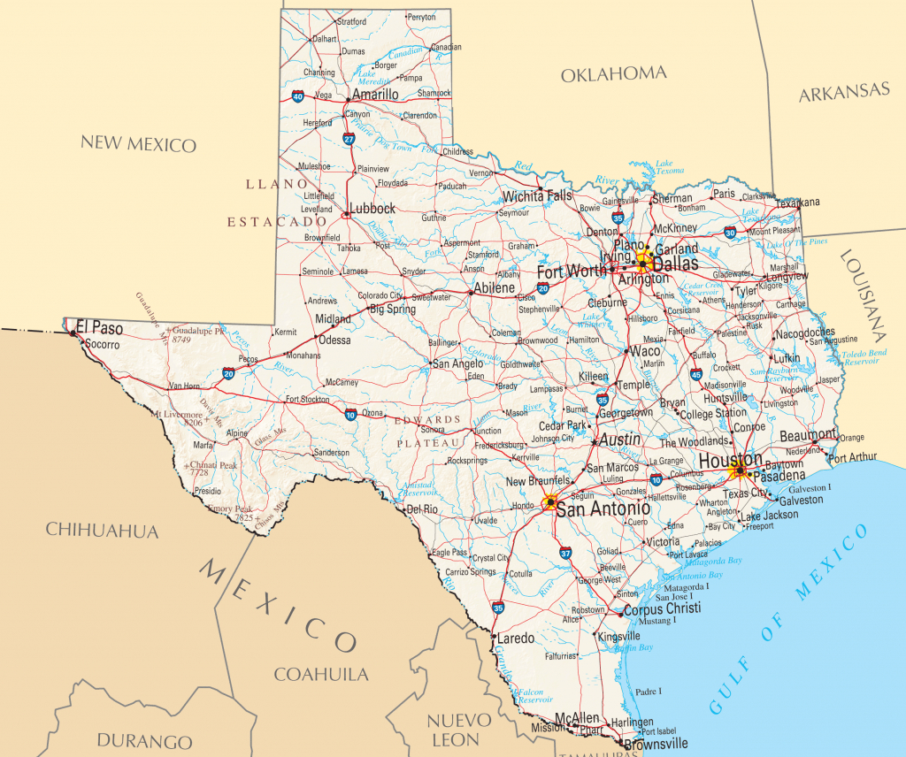 Map Of Texas Cities And Roads And Travel Information | Download Free - Texas Road Map Free