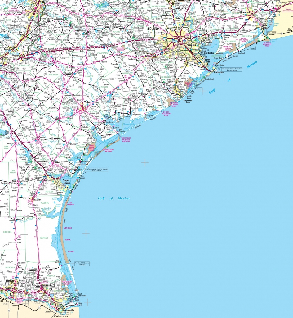 Map Of Texas Coastal Cities And Travel Information | Download Free - Texas Gulf Coast Fishing Maps