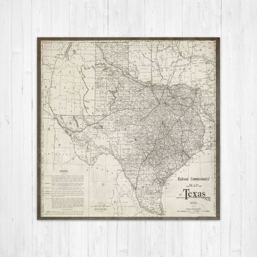 Map Of Texas, Texas Canvas Map, Texas State Map, Antique Texas Map - Texas Map Wall Art