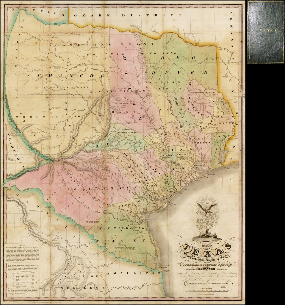 Map Of Texas With Parts Of The Adjoining States Compiledstephen - Colorado River Map Texas