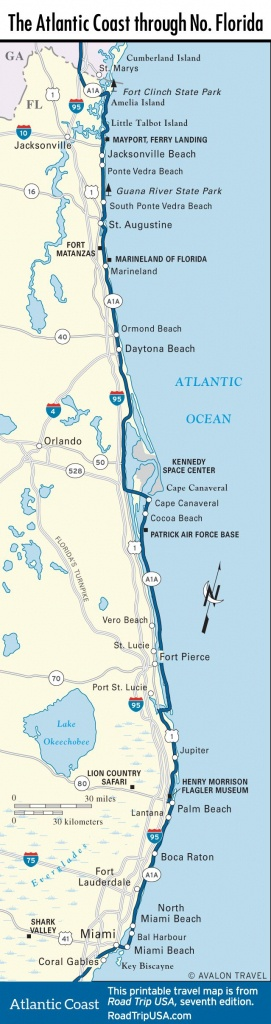 Map Of The Atlantic Coast Through Northern Florida. | Florida A1A - Map Of Florida East Coast