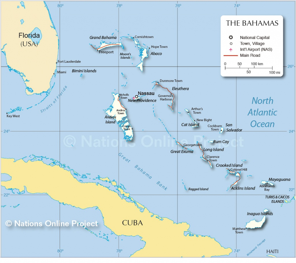 Map Of The Bahamas - Nations Online Project - Map Of Florida And Bahamas