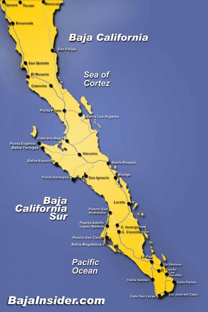 Map Of The Baja California Peninsula Of Mexico   Bajainsider - Map Of Baja California Mexico