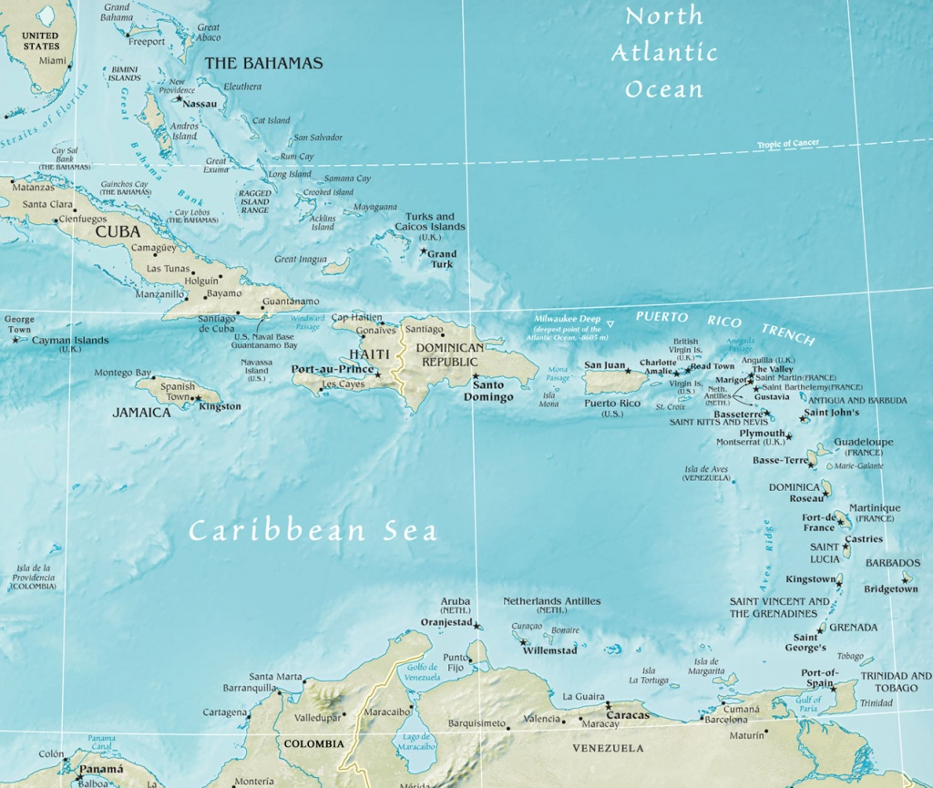 Map Of The Caribbean Region - Free Printable Map Of The Caribbean Islands