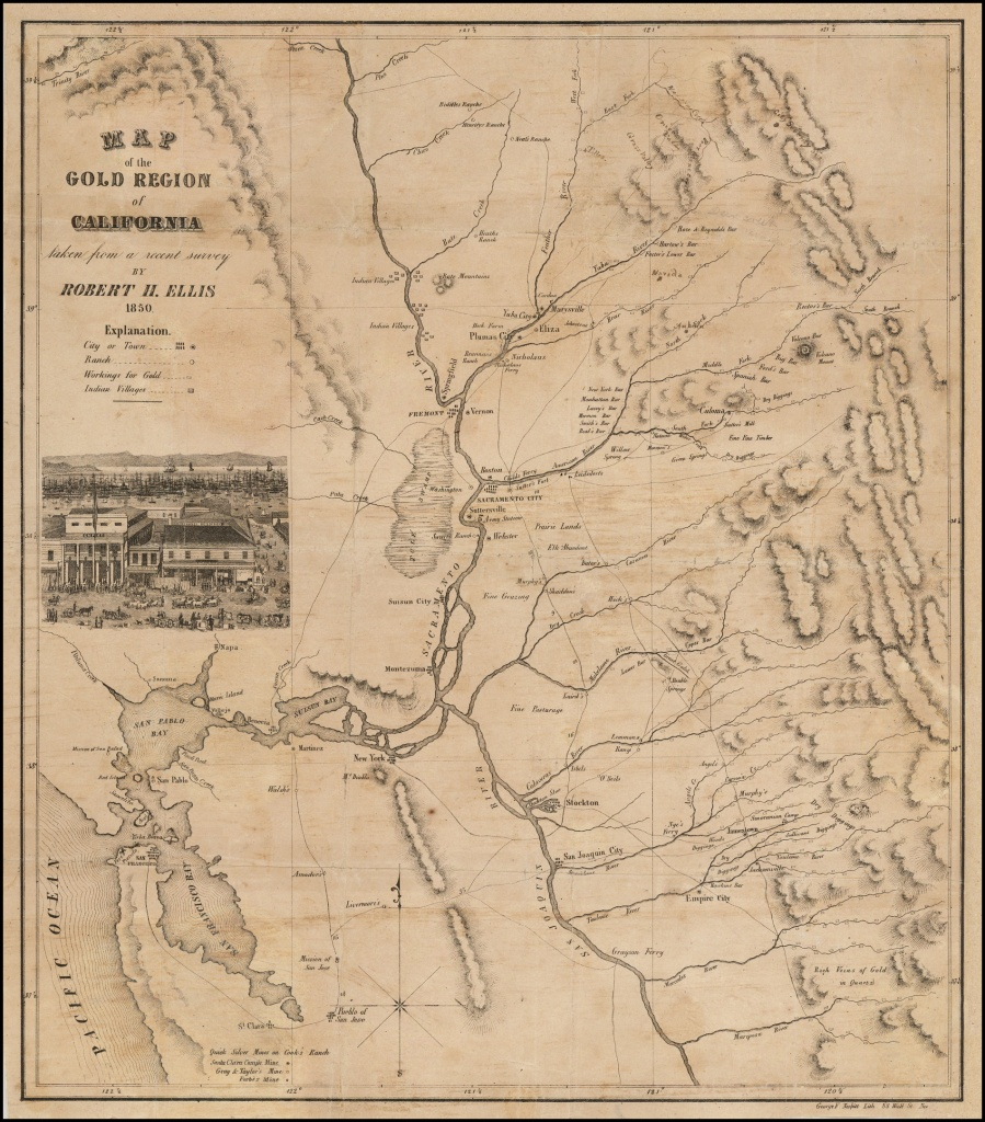 Map Of The Gold Region Of California Taken From A Recent Survey - Early California Maps