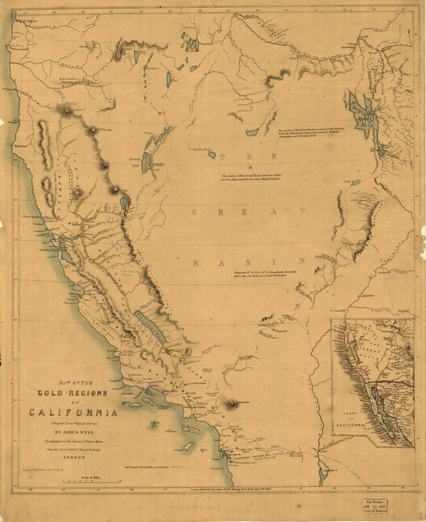 Map Of The Gold Regions Of California. | Library Of Congress - California Gold Mines Map