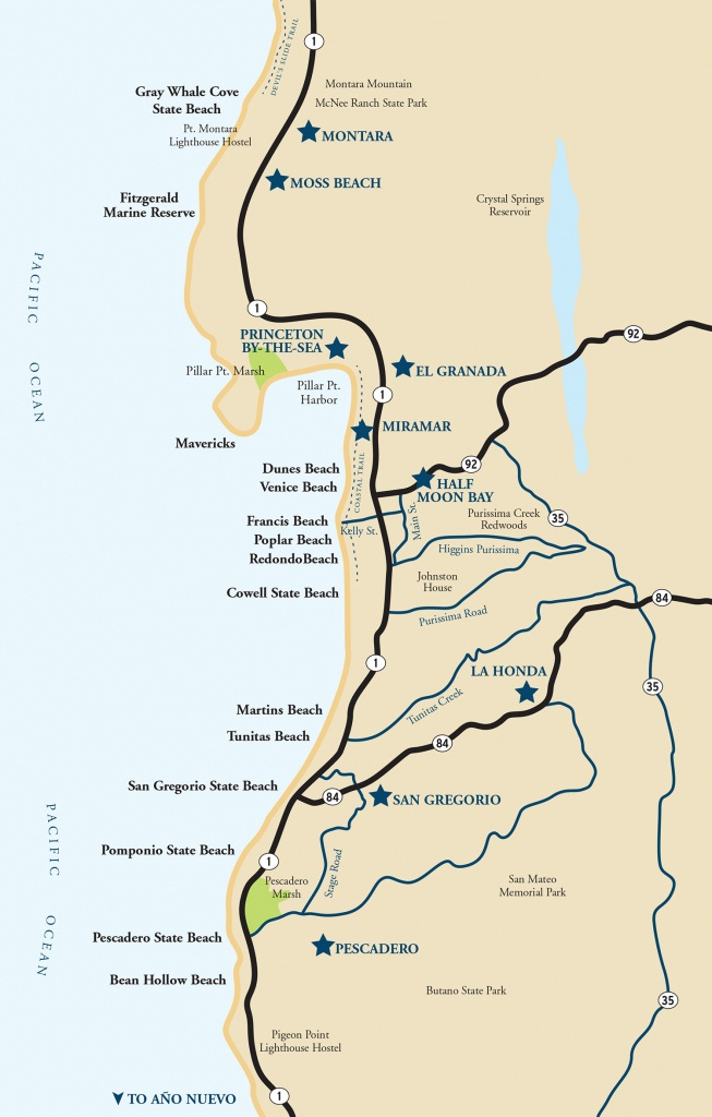 Map Of The Half Moon Bay Coastside   Visit Half Moon Bay - Map Of California Coast Beaches