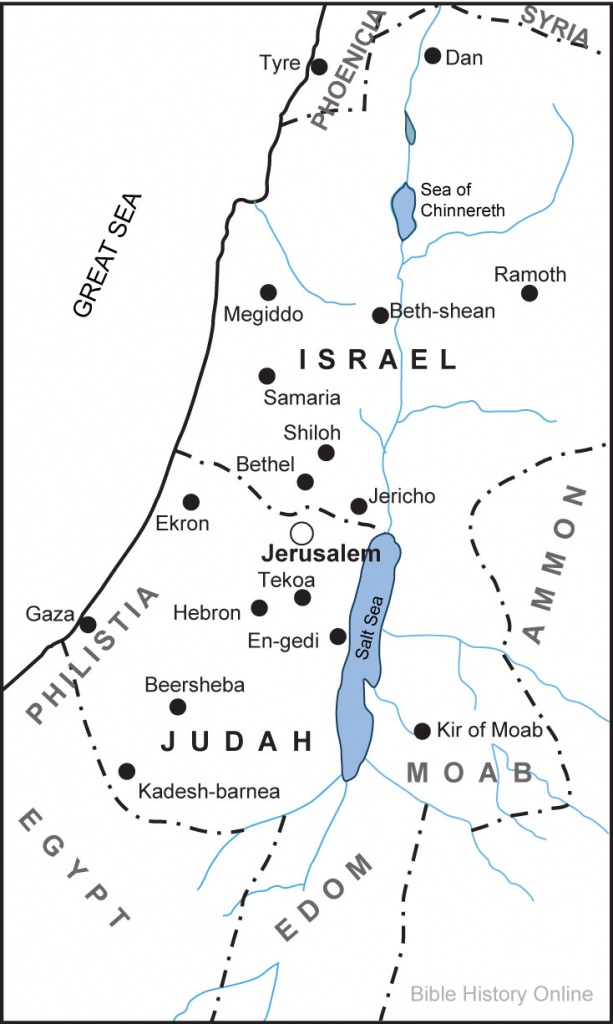 Map Of The Kingdoms Of Israel And Judah (Bible History Online) - Printable Bible Maps For Kids