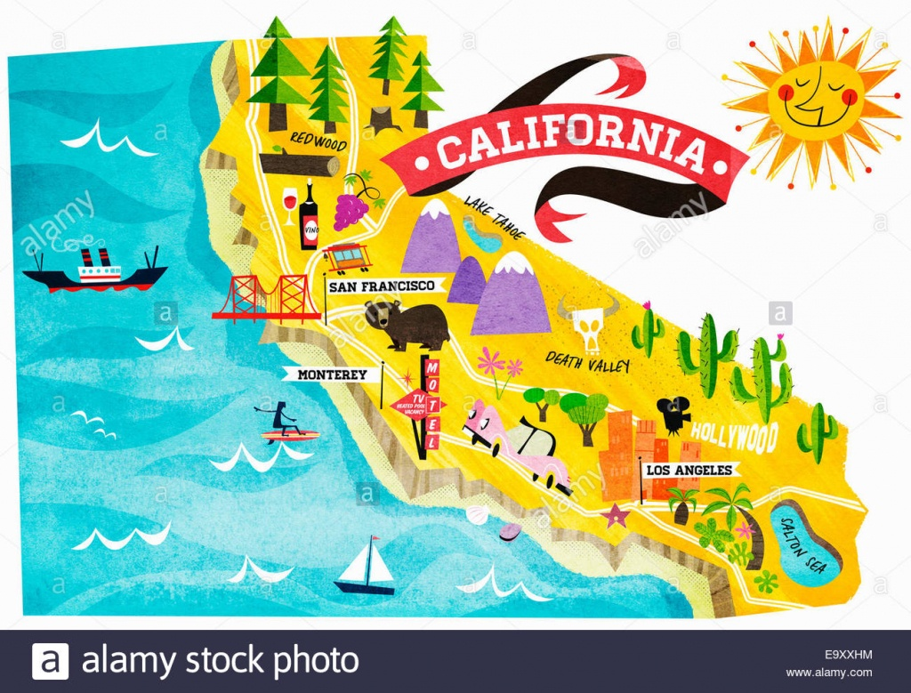 Map Of Tourist Attractions In California Stock Photo: 74965008 - Alamy - California Coast Attractions Map