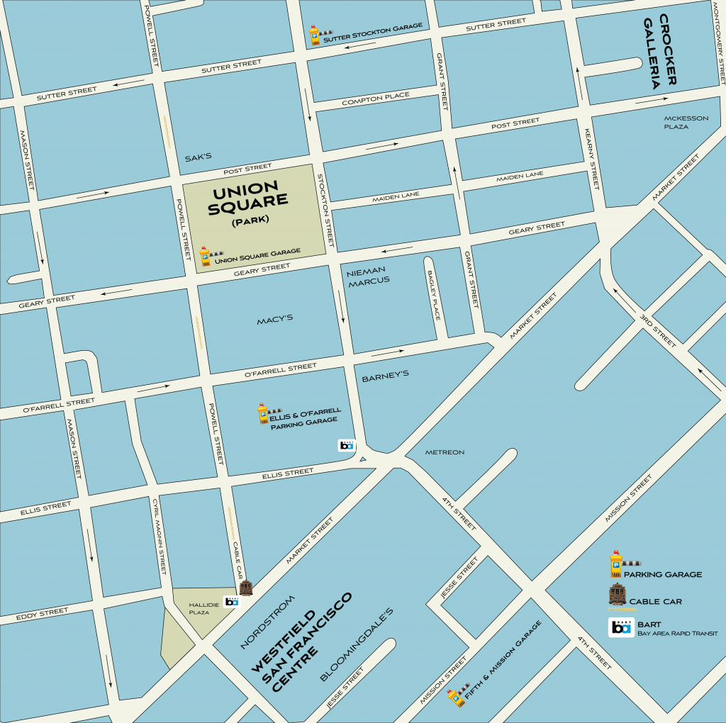 Map Of Union Square To View Or Print | Shopping, Dining & Travel Guide - Printable Map Of San Francisco Bay Area