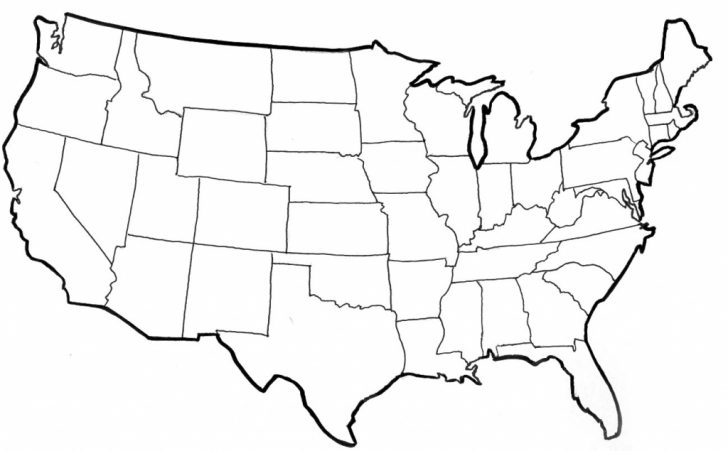 Map Of United States Without State Names Printable