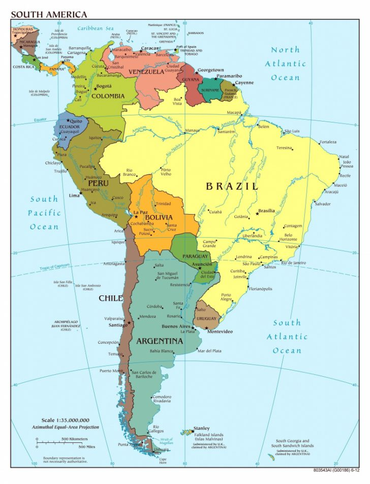 South America Physical Map Printable