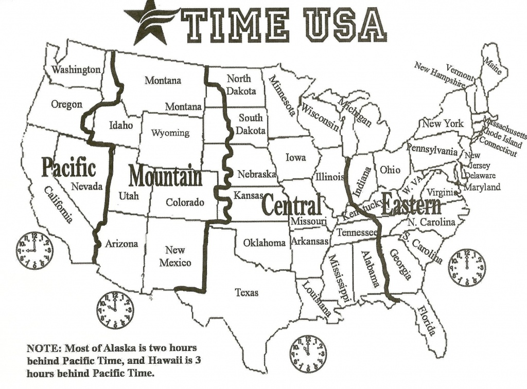 Map Of Us With Time Zones | Sitedesignco - Printable Time Zone Map Usa With States