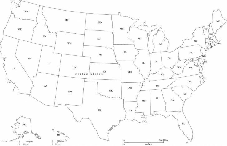 Printable Map Of Usa With State Abbreviations