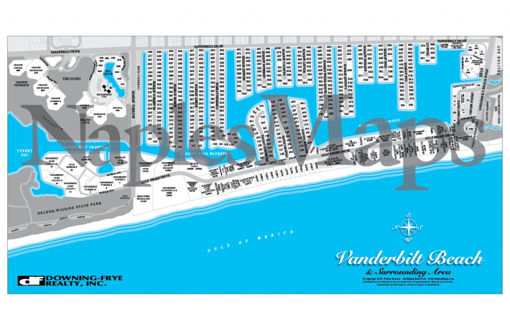 Map Of Vanderbilt Beach Area (Customized Sample) Naples Florida - Map Of Naples Florida And Surrounding Area