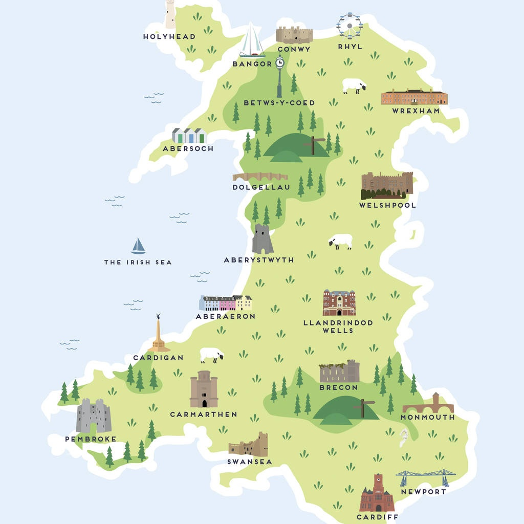 Map Of Wales Printpepper Pot Studios | Notonthehighstreet - Printable Map Of Wales