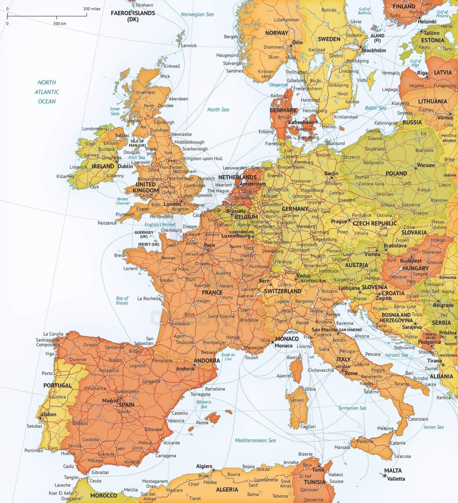 Map Of Western Europe Political, Roads And Ferries - Printable Map Of Western Europe