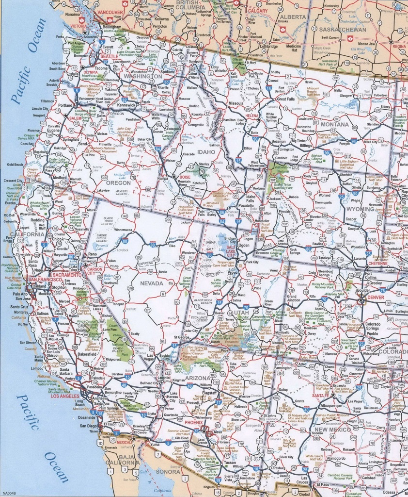 Map Of Western United States, Map Of Western United States With - Printable State Maps With Cities