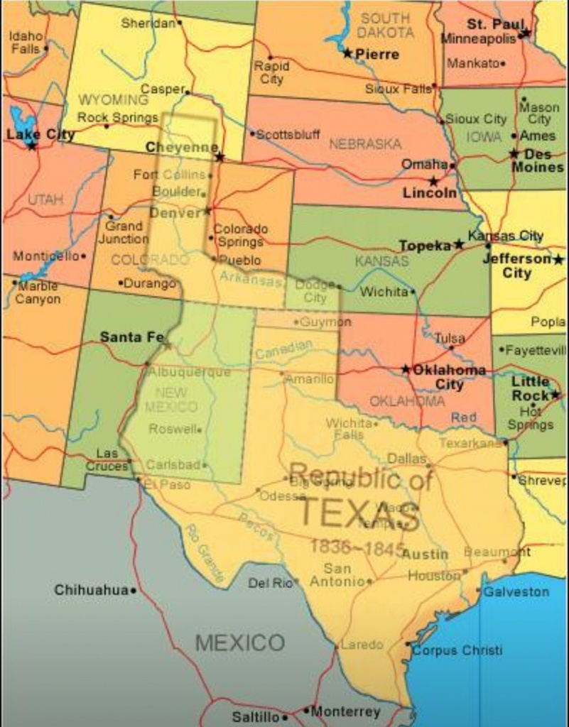Map Showing Current Usa With The Republic Of Texas Superimposed - Republic Of Texas Map Overlay