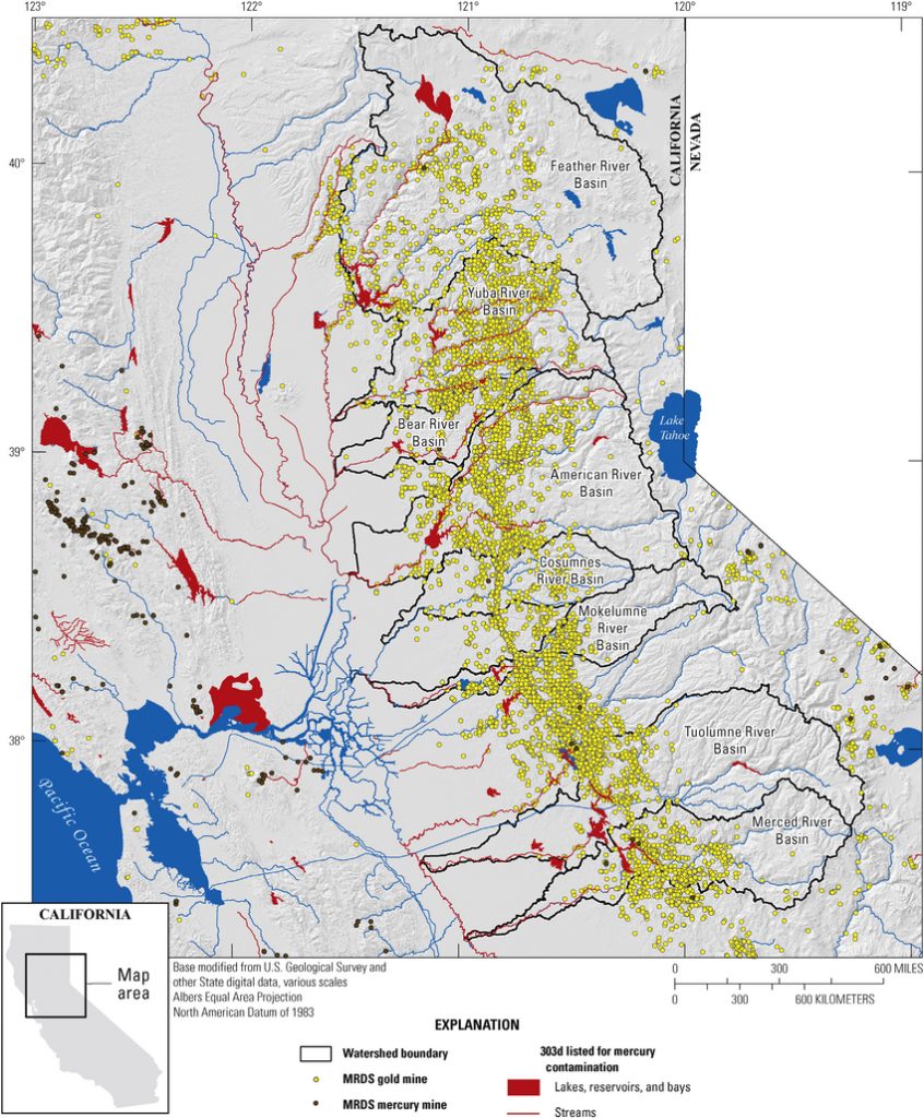 Map Showing Locations Of Historical Gold Mines In The Sierra Nevada - Map Of Abandoned Mines In California