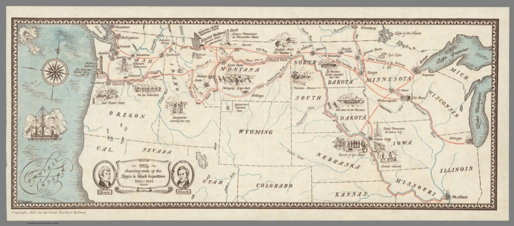 Map Showing Route Of The Lewis & Clark Expedition 1804-1806. - David - Lewis And Clark Expedition Map Printable
