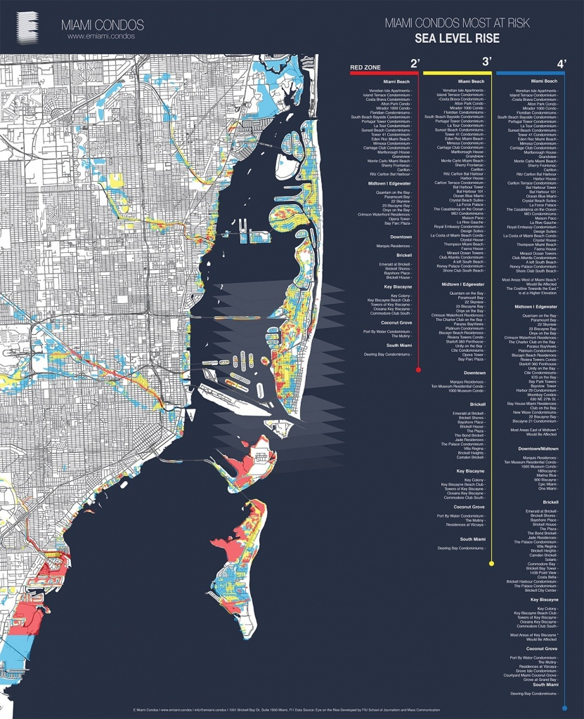 Map Shows Miami Condos Most Threatenedsea-Level Rise | Miami New - Florida Water Rising Map