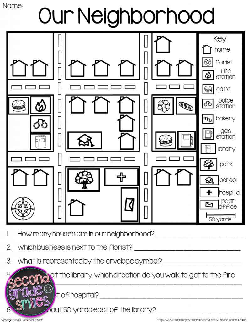 Map Skills - Reading Maps Printables & Map Making Task | Social - Free Printable Direction Maps