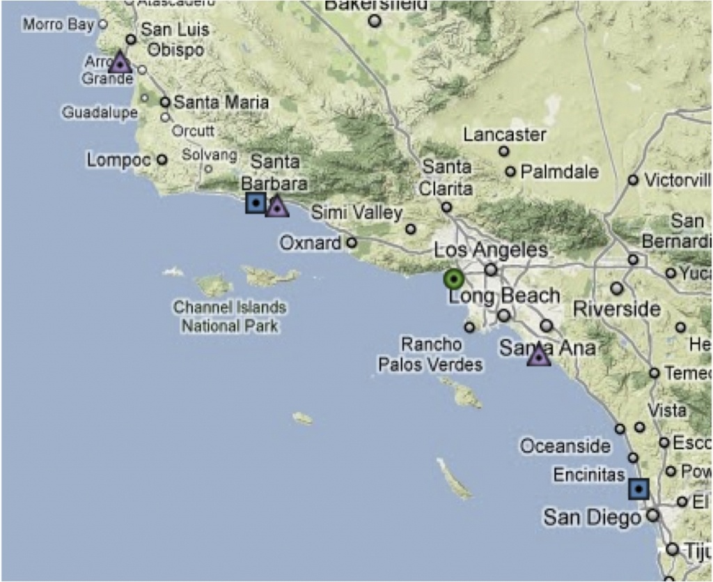 Map Southern California Coast Maps Of California Map Southern Inside - Map Of Southern California Coastline