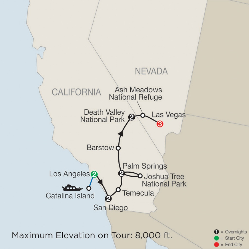 Map - Southern California With Death Valley & Joshua Tree National - National Parks In Southern California Map