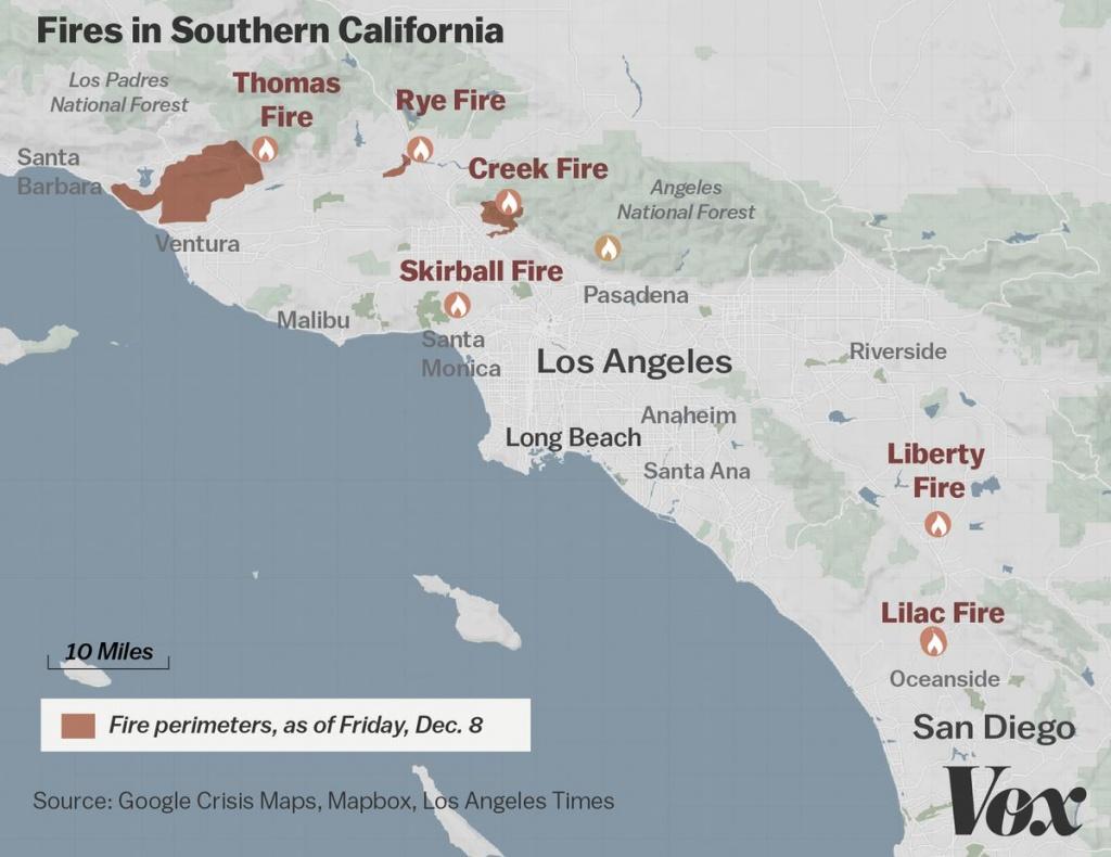 Map: Where Southern California's Massive Blazes Are Burning - Vox - Santa Ana California Map